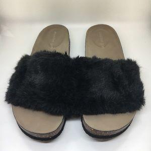 Madden Girl Bliss Black Faux Fur Sandals
